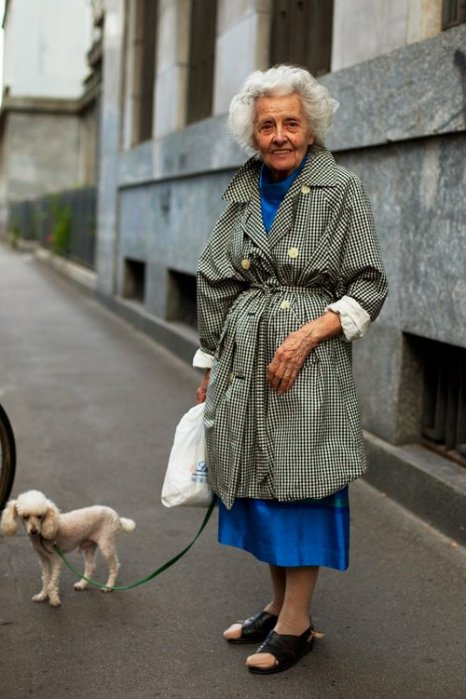 the-sartorialist-blog-june-grandma-trenchcoat-poodle-milan