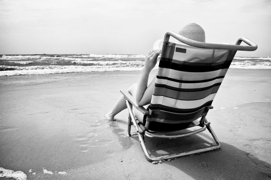 While on vacation in Topsail, NC, Jennifer relaxes on the beach.