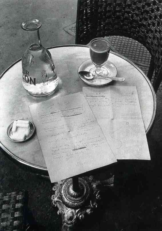 Andre Kertesz - the-way-a-poem-of-Ady's-began-on-a-cafe-table-in-paris - 1928