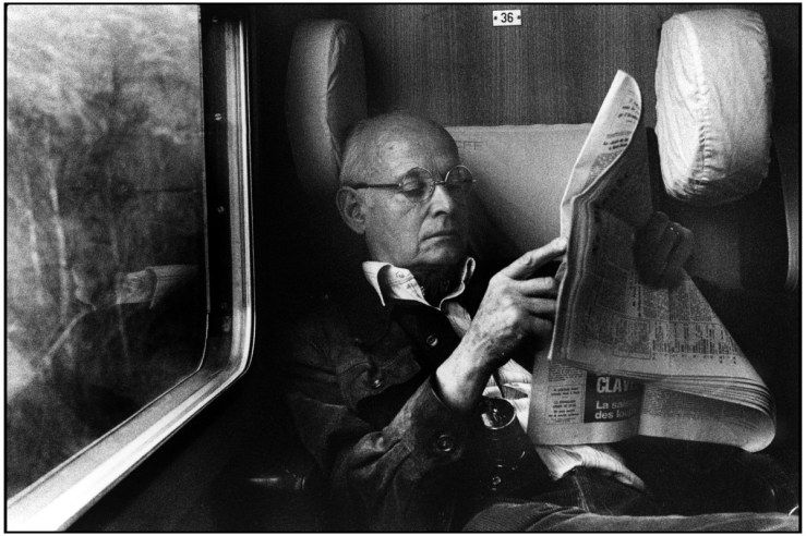 SWITZERLAND. 1976. Henri CARTIER-BRESSON on train ride to Montreux.
