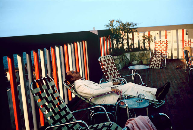 Paul Outerbridge, Self-portrait on Lounge, Oceanside Resort, Santa Monica, California, circa 1950